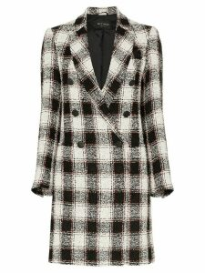 Etro woven check double-breasted coat - Black