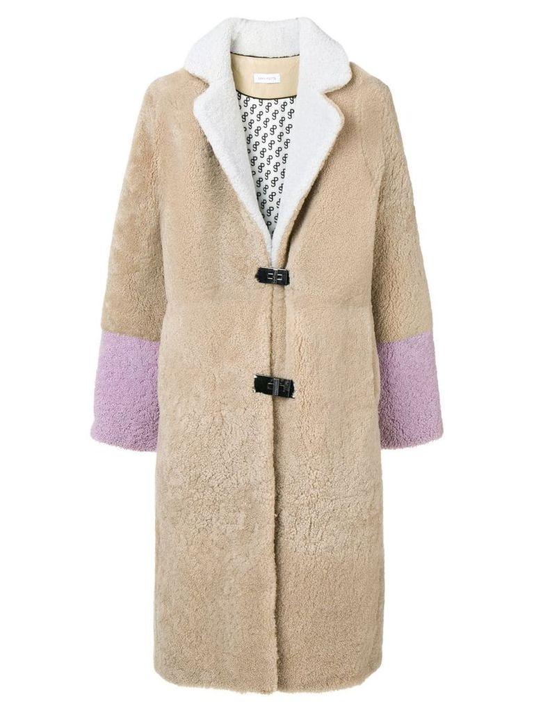 Saks Potts Febbe shearling coat - Neutrals
