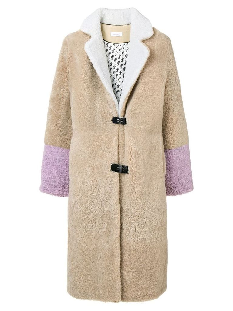 Saks Potts Febbe shearling coat - Neutrals