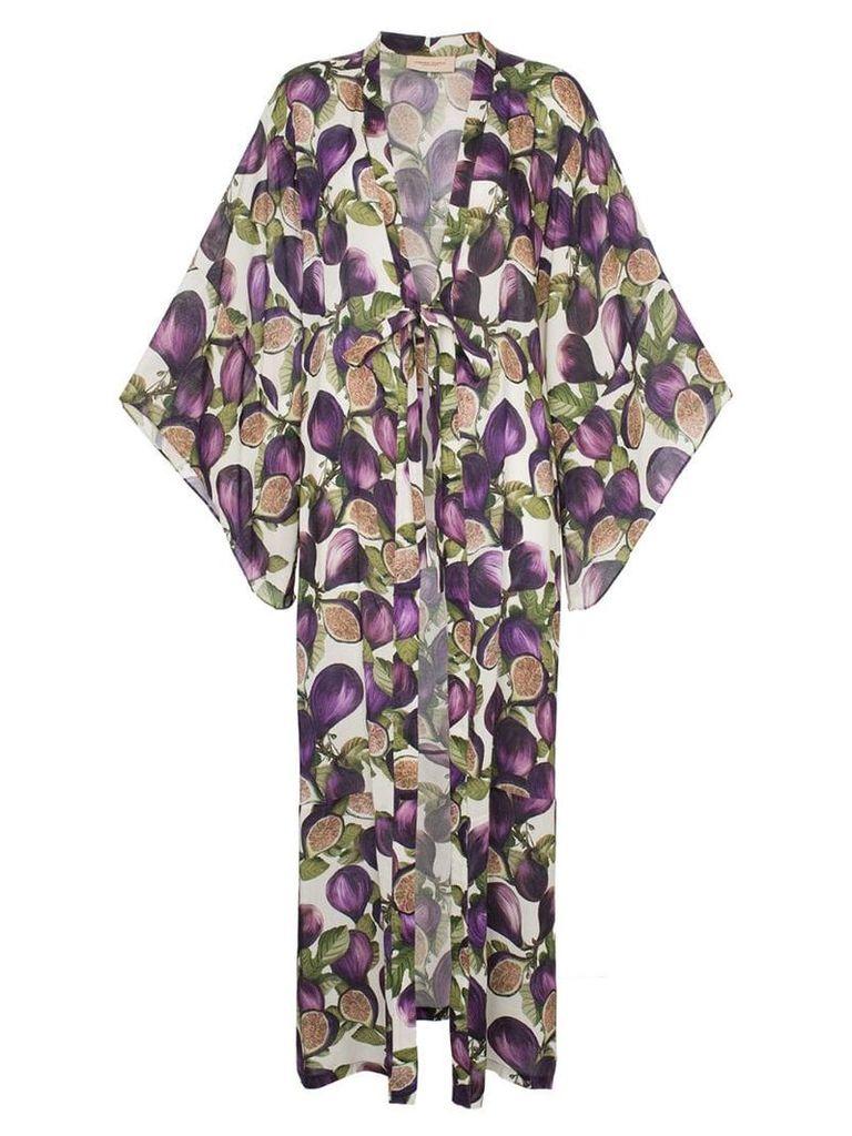 Adriana Degreas fig print satin kimono - Purple