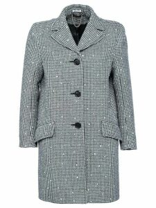 Miu Miu embellished houndstooth coat - Grey