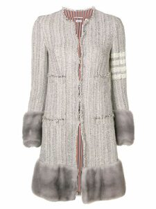 Thom Browne 4-Bar Mink Cardigan Jacket Overcoat - Grey