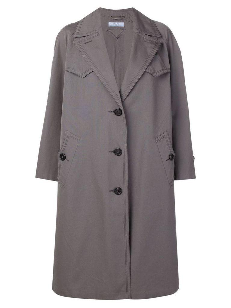 Prada single-breasted reversible coat - Grey