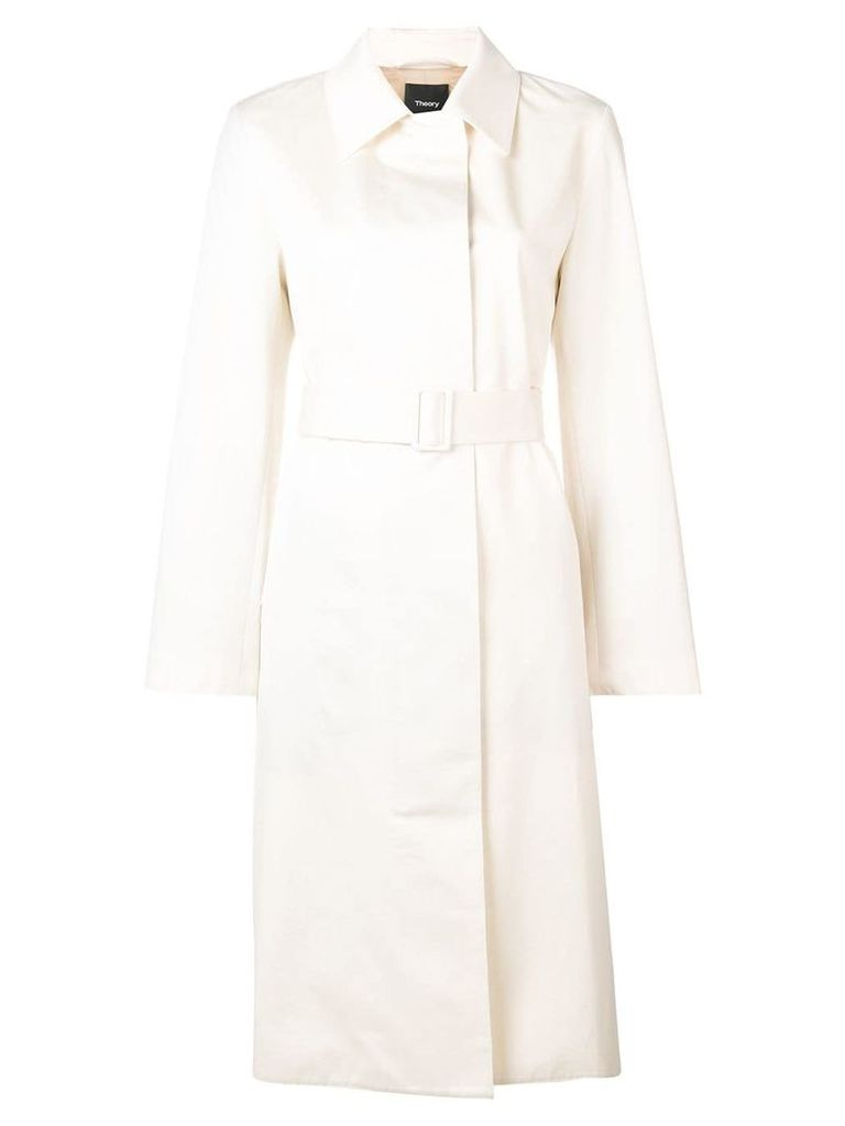 Theory belted single-breasted coat - Neutrals