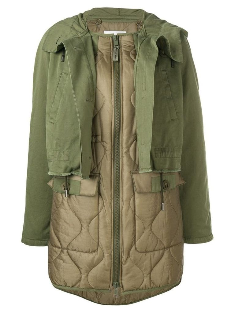 Yves Salomon layered single breasted coat - Green