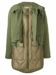 Yves Salomon layered single breasted coat - Green