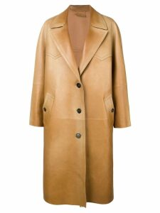 Prada long leather coat - Brown