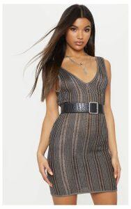 Black Striped Metallic Knitted Dress, Black