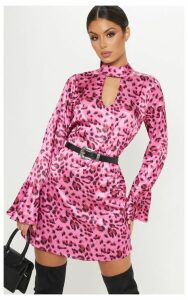 Pink Leopard High Neck Cut Out Smock Dress, Pink