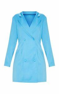 Blue Long Sleeve Blazer Dress, Blue