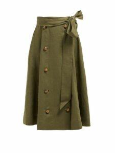 Lisa Marie Fernandez - Diana Belted Linen Midi Skirt - Womens - Khaki