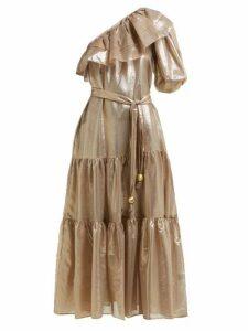 Lisa Marie Fernandez - Arden Asymmetric Tiered Lamé Midi Dress - Womens - Gold Multi