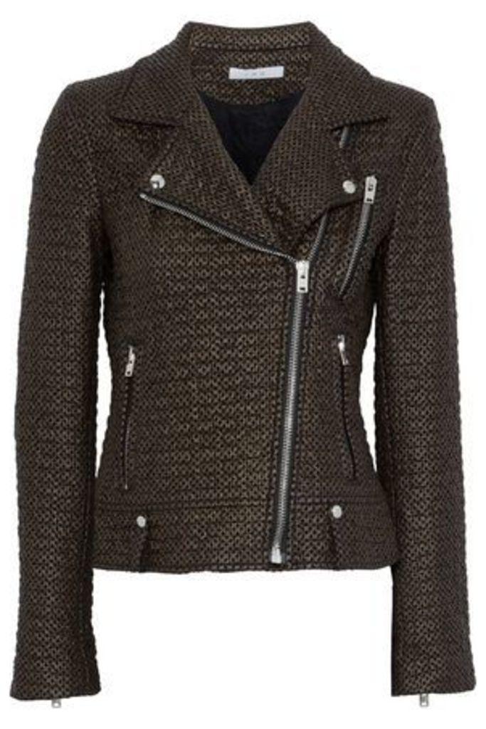 Iro Woman Camy Faux Leather And Felt Biker Jacket Bronze Size 36