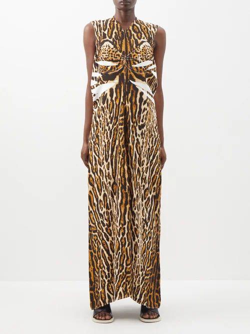 Peter Pilotto - Striped Lamé Chiffon Gown - Womens - Bronze