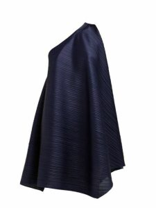 Pleats Please Issey Miyake - One Shoulder Tech Pleated Dress - Womens - Navy