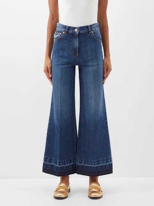 La Prestic Ouiston - Sagan Polka Dot Silk Pleated Midi Skirt - Womens - Blue Multi