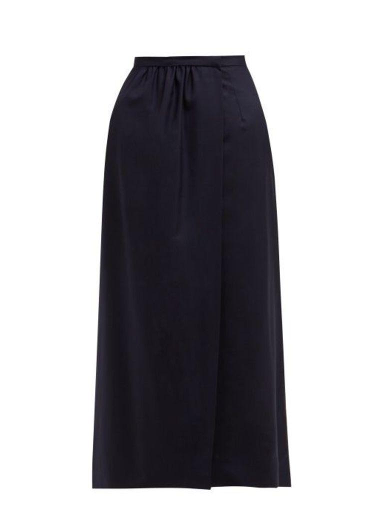 Edward Crutchley - High Rise Split Front Wool Midi Skirt - Womens - Navy