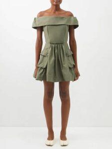 Peter Pilotto - Floral And Foliage Print Crepe Midi Dress - Womens - Black Multi