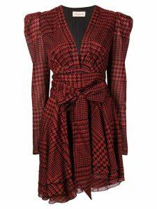 Alexandre Vauthier houndstooth ruffle dress - Red