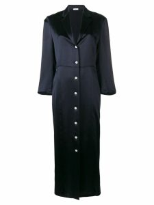 Thom Browne deep-V silk shirt-dress - Blue