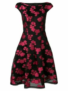 Talbot Runhof floral organza midi dress - Black