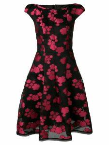 Talbot Runhof floral organza midi dress - Black