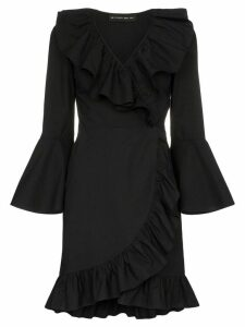 Etro ruffle detail cotton wrap dress - Black