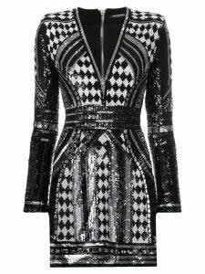 Balmain paillette short dress - Black