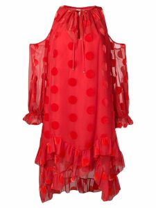Maria Lucia Hohan polka dot cold shoulder dress - Red