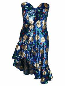 Giuseppe Di Morabito floral sequin strapless dress - Blue