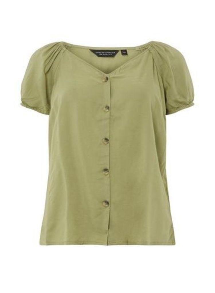 Womens Khaki Button Through Top- Khaki, Khaki