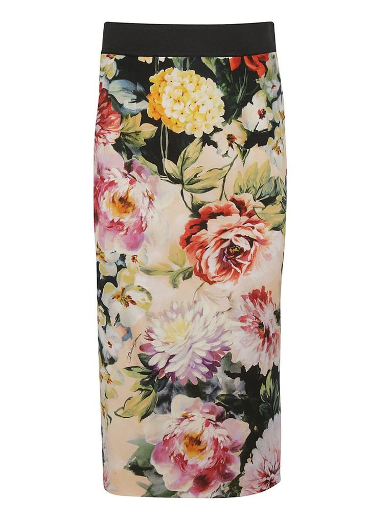 Dolce & Gabbana Rose Print Pencil Skirt