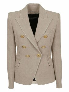 Balmain Double Breasted Washed Jute Six Button Blazer