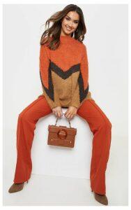 Brown Eyelash Chevron Knitted Jumper, Brown