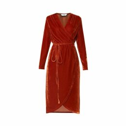 PAISIE - Velvet Tie Wrap Dress With Gathered Shoulders In Saffron