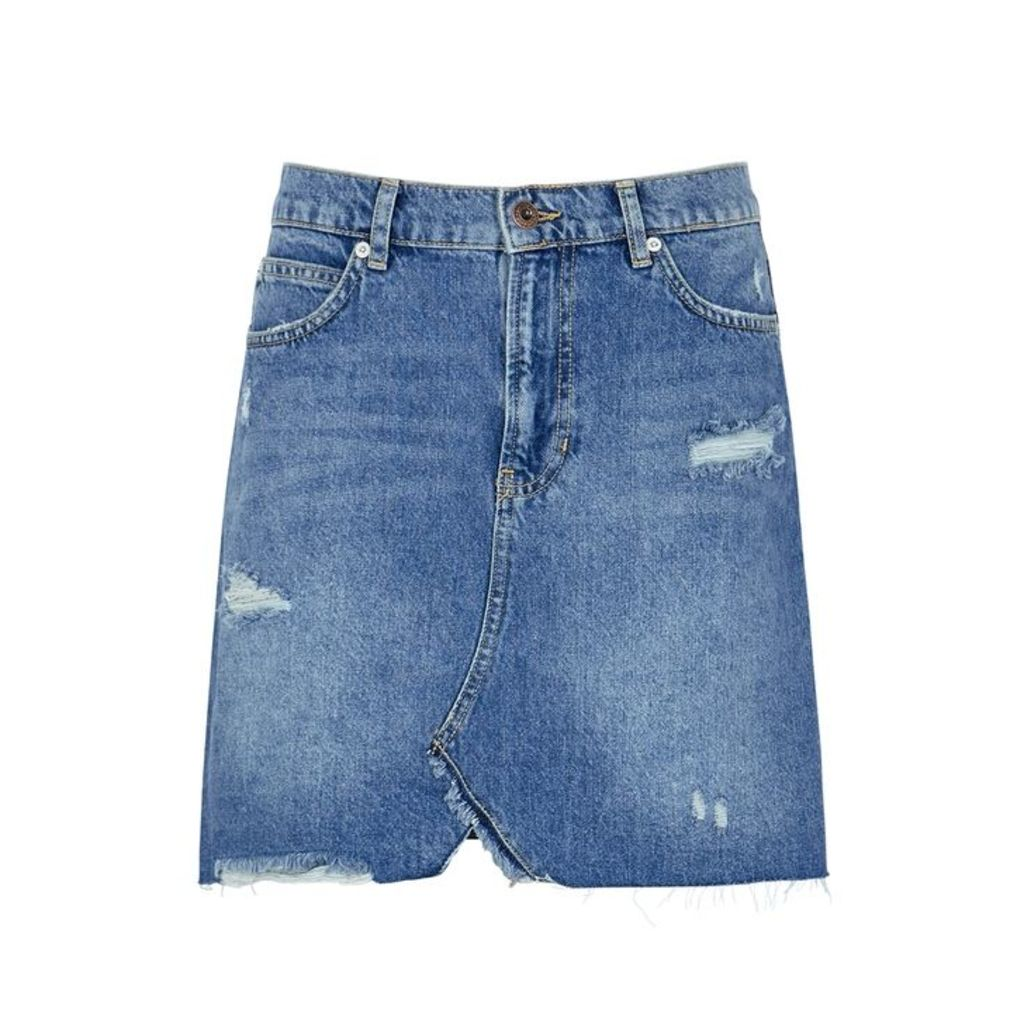 Free People Hallie Blue Denim Skirt