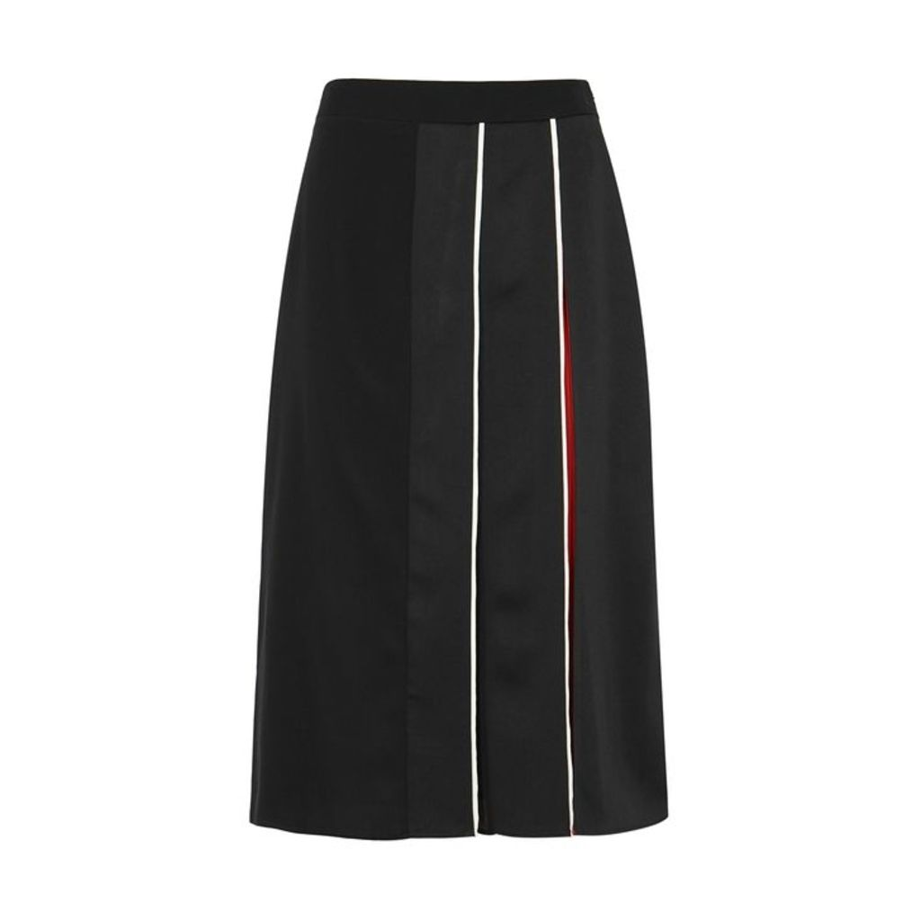 Givenchy Black Pleated Silk Crepe De Chine Skirt