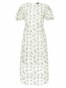 Markus Lupfer floral embroidered sheer dress - White