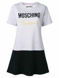 Moschino embroidered layered T-shirt dress - Grey