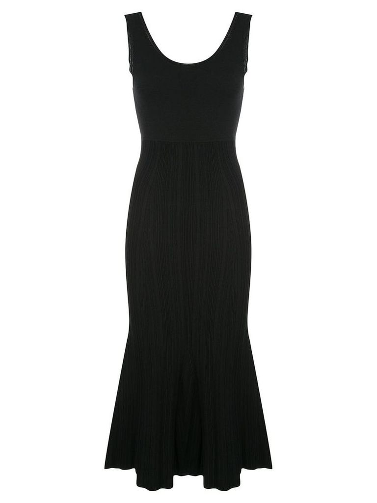 Proenza Schouler Crepe Chiffon Square Neck Dress - Black