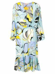 Emilio Pucci v-neck floral pattern dress - Blue