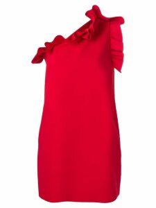 MSGM ruffle-trim one-shoulder mini dress - Red