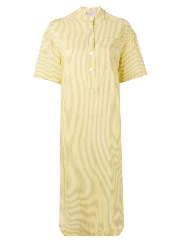 Erika Cavallini striped twist back midi dress - Yellow