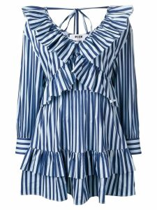 MSGM striped ruffle mini dress - Blue
