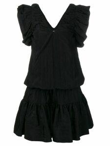 Victoria Victoria Beckham V-neck ruffle dress - Black