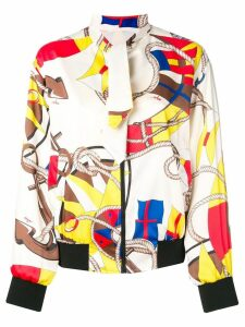 MSGM printed bomber jacket - White