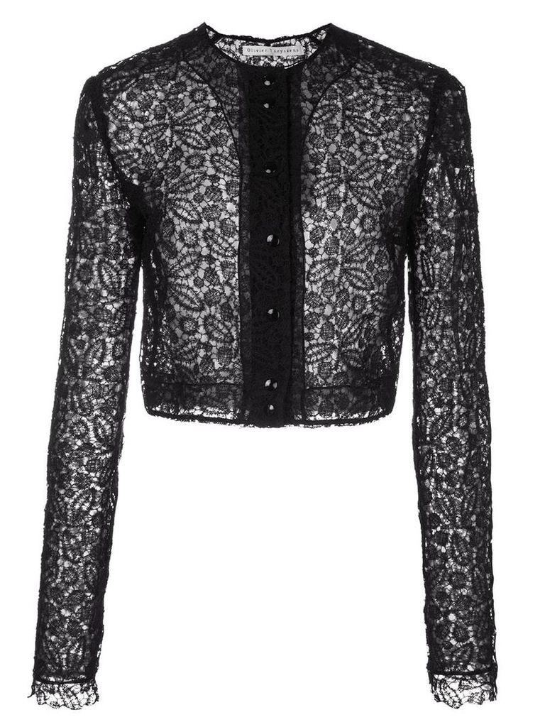 Olivier Theyskens lace-trimmed jacket - Black