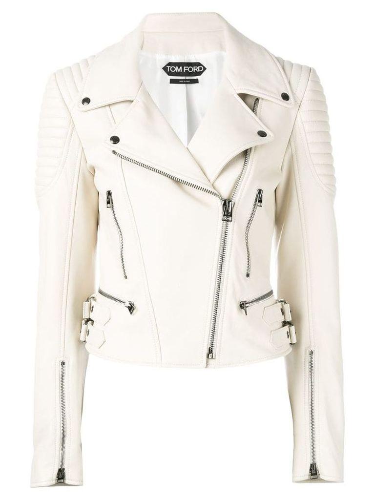 Tom Ford leather biker jacket - White