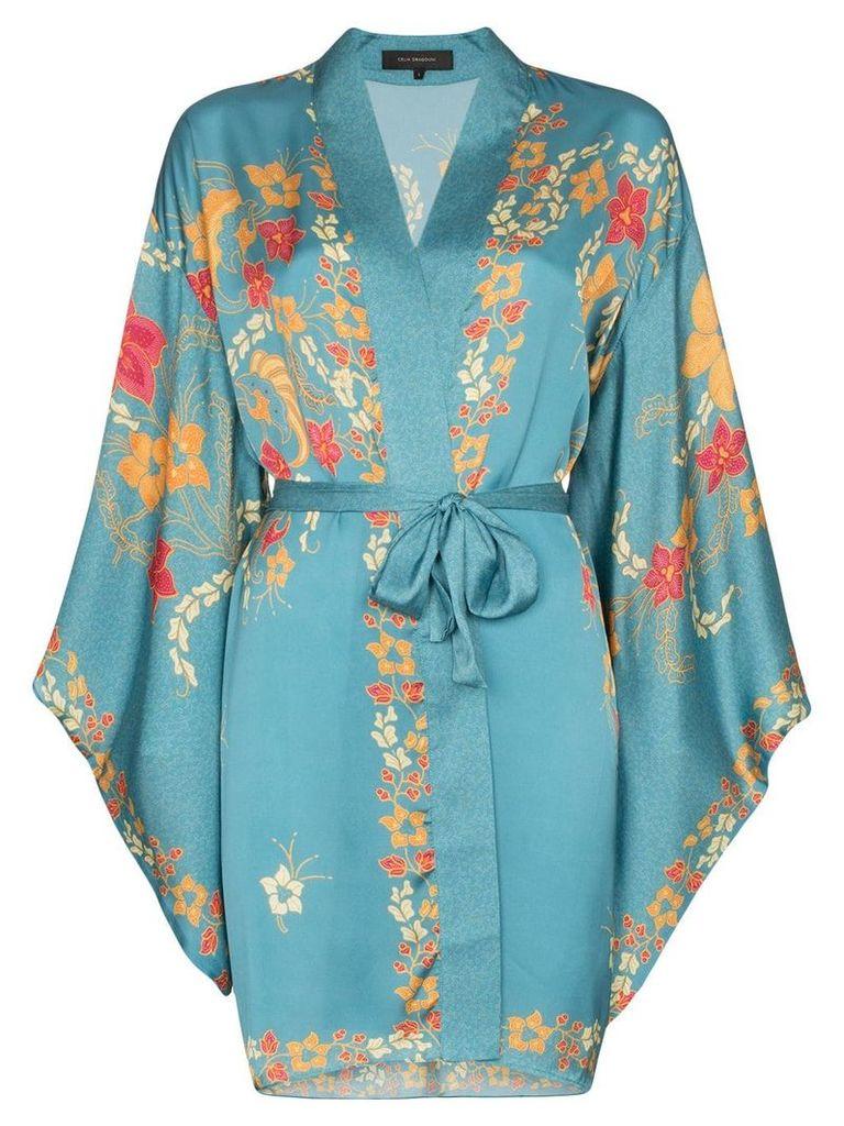 Celia Dragouni floral print belted kimono - Blue