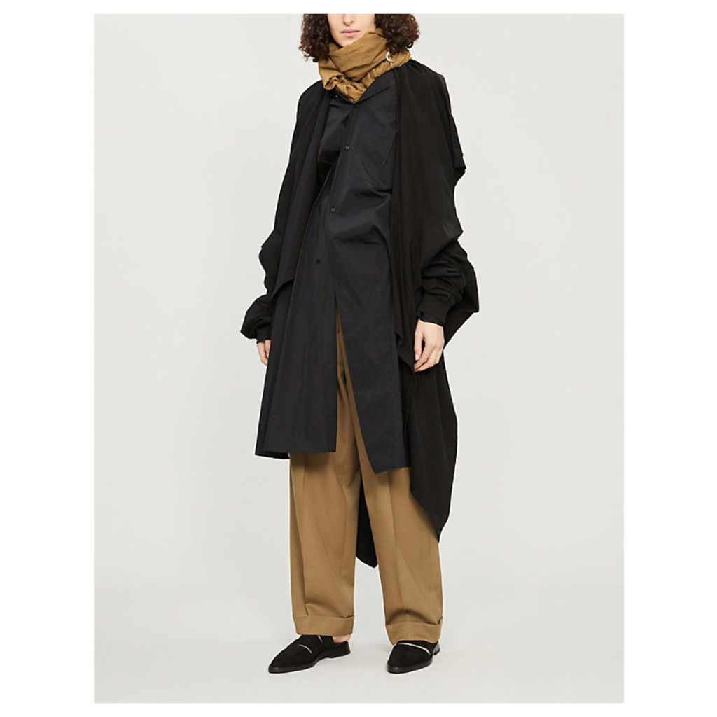 Layered asymmetric cotton coat